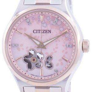Citizen Automatic Sakura Special Edition Open Heart PC1016-81D Diamond Accents 100M Women's Watch