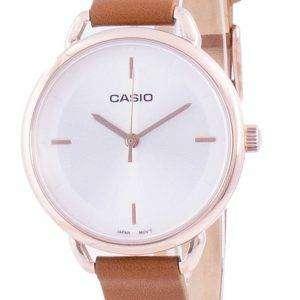 Reloj Casio plateado con correa de cuero de cuarzo LTP-E413PL-7A LTPE413PL-7A para mujer