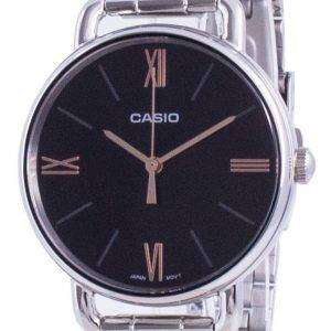 Reloj Casio de cuarzo de acero inoxidable con esfera negra LTP-E414D-1A LTPE414D-1A para mujer