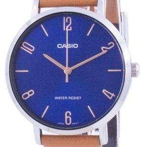Reloj Casio con esfera azul y correa de cuero de cuarzo LTP-VT01L-2B2 LTPVT01L-2B2 para mujer