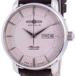 Zeppelin Atlantik Beige Dial Leather Strap Automatic 8466-5 84665 Men's Watch
