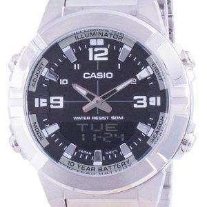 Reloj Casio Analog Digital World Time Acero inoxidable AMW-870D-1A AMW870D-1 para hombre