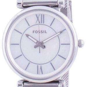 Fossil Carlie Mother Of Pearl Dial Reloj de cuarzo de acero inoxidable ES4919 para mujer