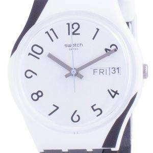 Swatch Greytwist Reloj para hombre con correa de silicona y esfera blanca GW711