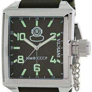 Invicta Russian Diver, esfera verde, correa de cuero, cuarzo, 33706, 100M, reloj para hombre