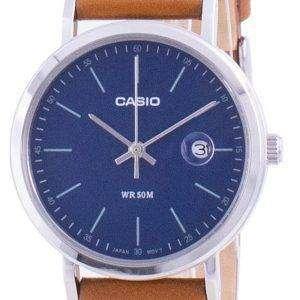 Reloj Casio analógico con esfera azul y correa de cuero LTP-E175L-2E LTPE175L-2 para mujer