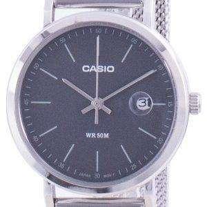 Reloj Casio analógico de acero inoxidable con esfera negra LTP-E175M-1E LTPE175M-1 para mujer
