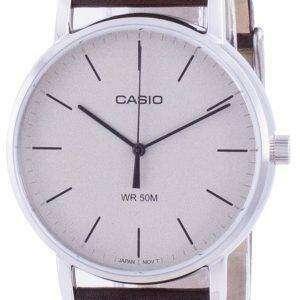 Reloj Casio con esfera blanca y correa de cuero de cuarzo MTP-E171L-5E MTPE171L-5 para hombre