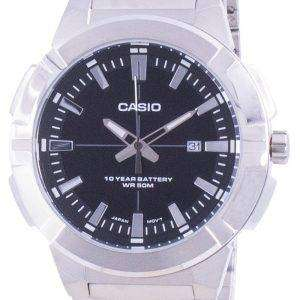Reloj Casio analógico de acero inoxidable con esfera negra MTP-E172D-1A MTPE172D-1 para hombre