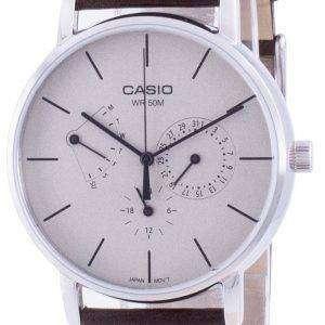 Reloj Casio con esfera blanca y correa de cuero de cuarzo MTP-E320L-5E MTPE320L-5 para hombre
