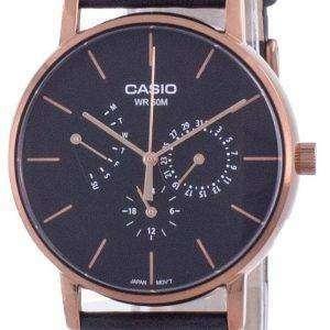 Reloj Casio Multi Hands con esfera negra y correa de cuero de cuarzo MTP-E320RL-1E MTPE320RL-1 para hombre
