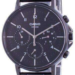 Reloj Casio Multi Hands, esfera negra, acero inoxidable, cuarzo, MTP-E321B-1A MTPE321B-1, para hombre