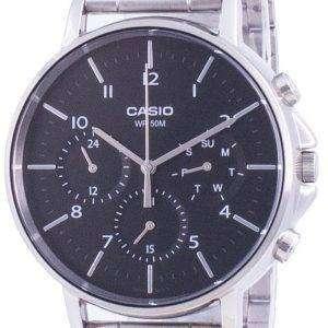 Reloj Casio Multi Hands, esfera negra, acero inoxidable, cuarzo MTP-E321D-1A MTPE321D-1 para hombre