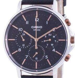 Reloj Casio Multi Hands con esfera negra y correa de cuero de cuarzo MTP-E321L-1A MTPE321L-1 para hombre