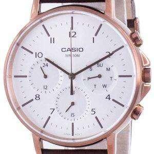 Casio Multi Hands Silver Dial Correa de cuero Cuarzo MTP-E321RL-5A MTPE321RL-5 Reloj para hombre