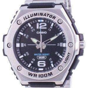 Reloj Casio Youth con esfera negra, acero inoxidable, cuarzo MWA-100HD-1A MWA100HD-1 100M para hombre