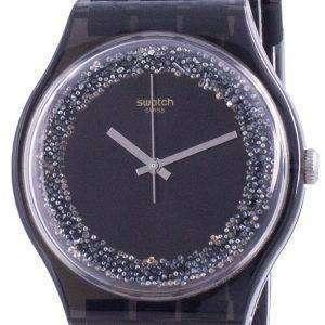 Swatch Darksparkles Reloj para hombre con correa de silicona y esfera negra de cuarzo SUOB156