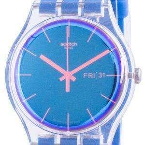 Swatch Polablue Reloj para hombre con correa de silicona con esfera azul y cuarzo SUOK711