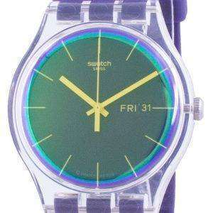 Reloj para hombre Swatch Polapurple, esfera morada, correa de silicona, cuarzo, SUOK712