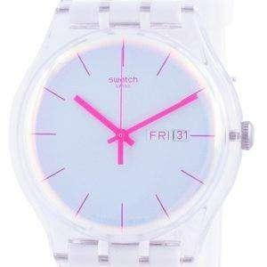 Swatch Polawhite Reloj para hombre con correa de silicona con esfera blanca y cuarzo SUOK713