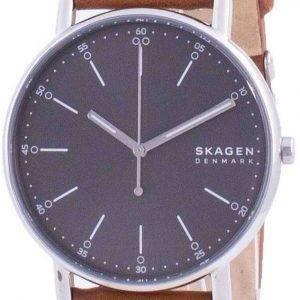 Reloj para hombre Skagen Signatur, esfera gris, correa de cuero, cuarzo, SKW6578