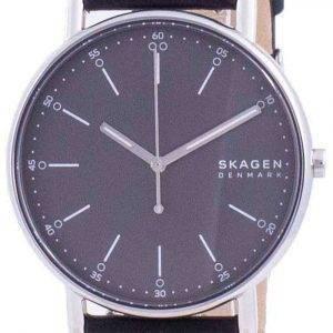 Skagen Signatur, esfera gris, correa de cuero, cuarzo, SKW6654, reloj para hombre