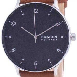 Reloj Skagen Riis con esfera negra y correa de cuero de cuarzo SKW6663 para hombre