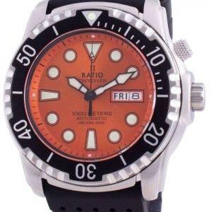 Ratio Free Diver Helium-Safe 1000M Sapphire Automatic 1068HA90-34VA-ORG Reloj para hombre