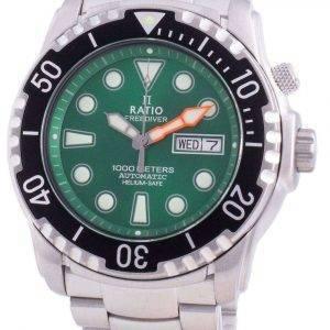 Ratio Free Diver Helium-Safe 1000M Sapphire Automatic 1068HA96-34VA-GRN Reloj para hombre