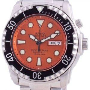 Ratio Free Diver Helium-Safe 1000M Sapphire Automatic 1068HA96-34VA-ORG Reloj para hombre