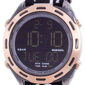 Diesel Crusher Reloj digital de cuarzo de nailon negro DZ1940 para hombre