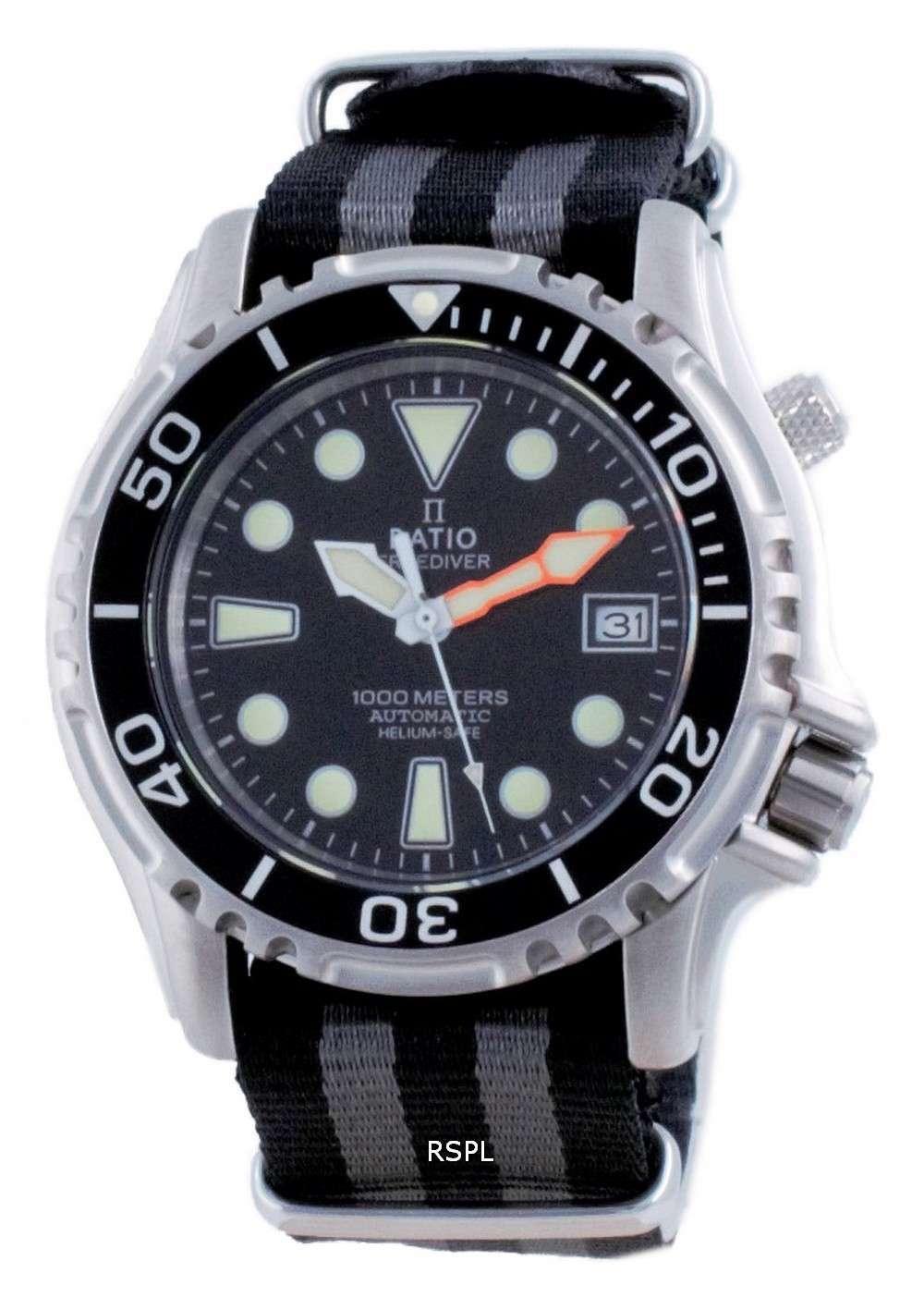 Ratio Free Diver Helium Safe Nylon Automatic Diver&#39,s 1066KE20-33VA-BLK-var-NATO1 1000M Reloj para hombre