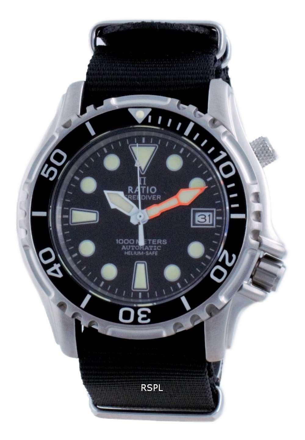 Ratio Free Diver Helium Safe Nylon Automatic Diver&#39,s 1066KE20-33VA-BLK-var-NATO4 1000M Reloj para hombre