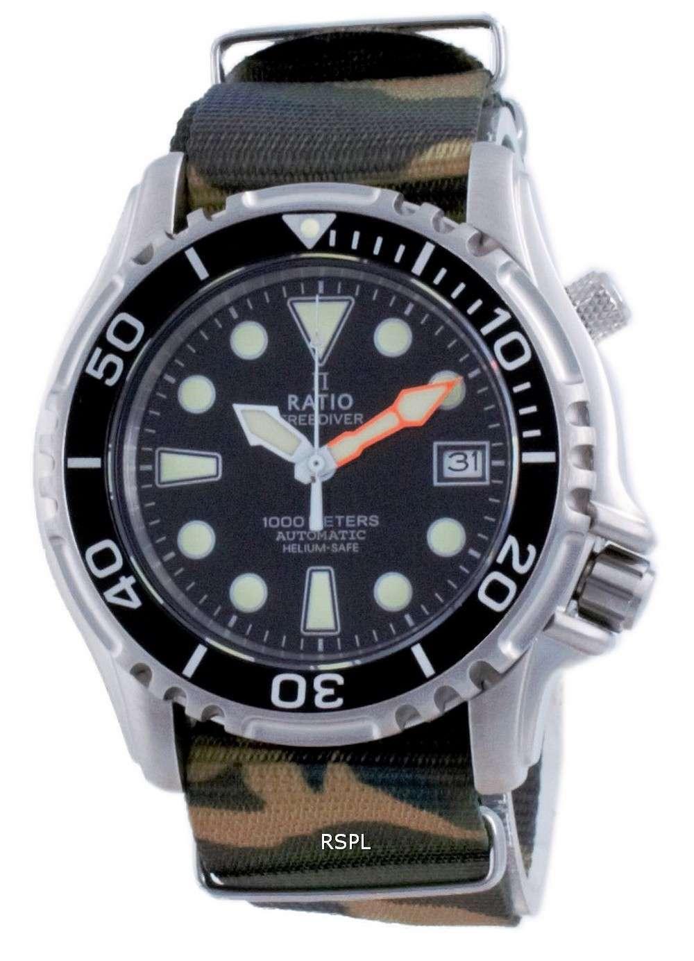 Ratio Free Diver Helium Safe Nylon Automatic Diver&#39,s 1066KE20-33VA-BLK-var-NATO5 1000M Reloj para hombre