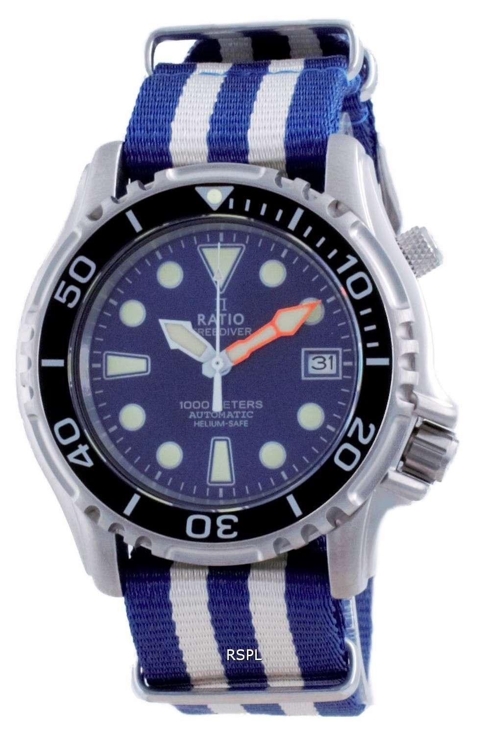 Ratio Free Diver Helium Safe Nylon Automatic Diver&#39,s 1066KE20-33VA-BLU-var-NATO2 1000M Reloj para hombre