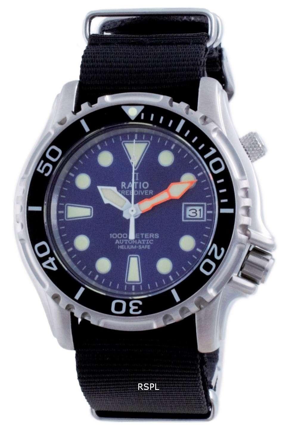 Ratio Free Diver Helium Safe Nylon Automatic Diver&#39,s 1066KE20-33VA-BLU-var-NATO4 1000M Reloj para hombre