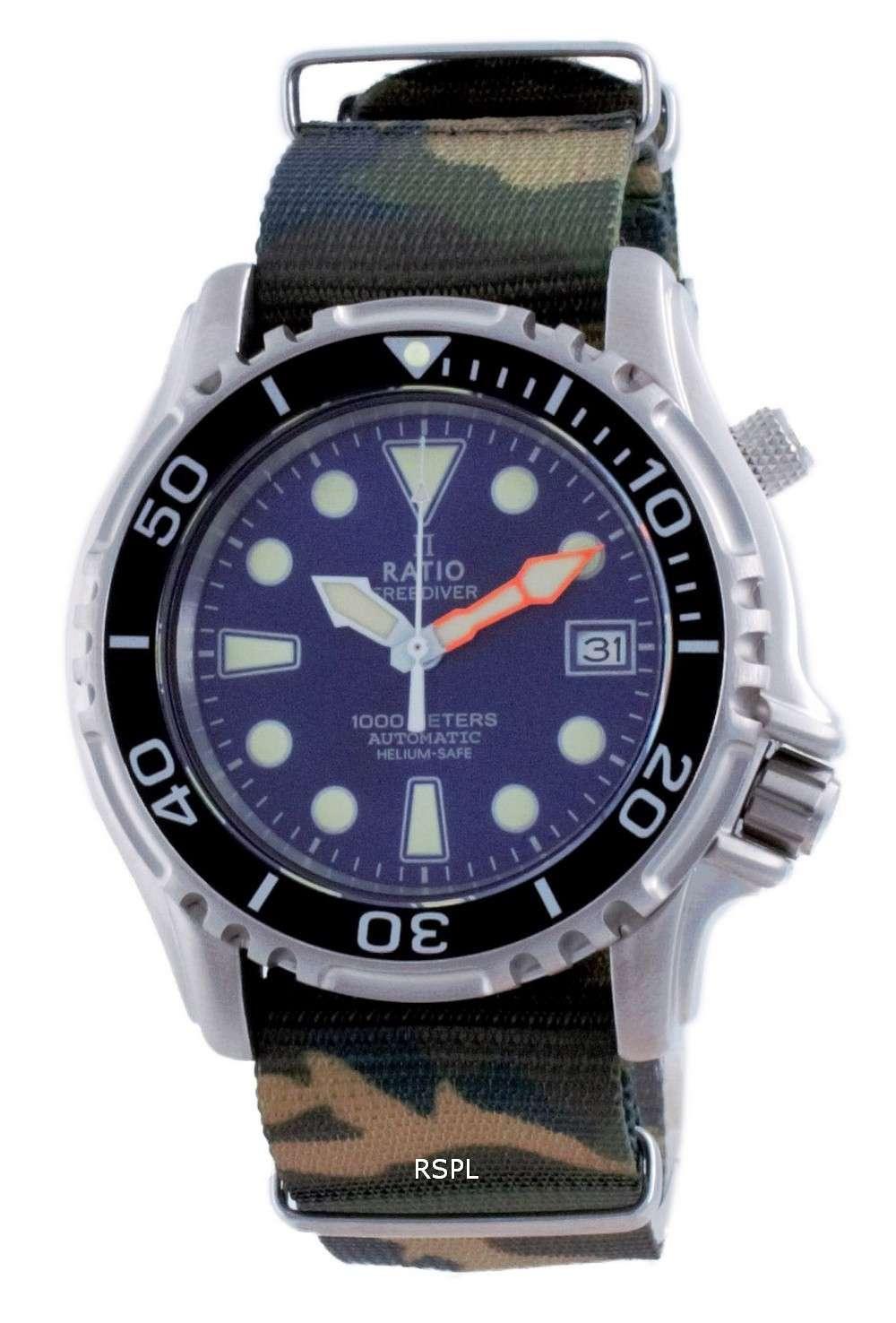 Ratio Free Diver Helium Safe Nylon Automatic Diver&#39,s 1066KE20-33VA-BLU-var-NATO5 1000M Reloj para hombre