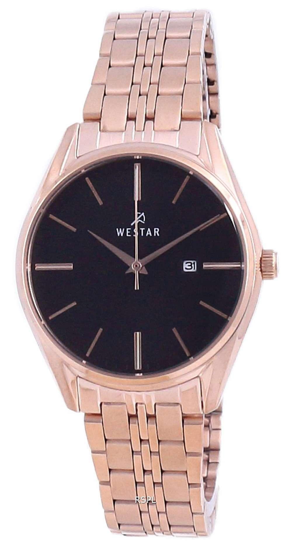 Westar, esfera negra, dos tonos, acero inoxidable, cuarzo 40210 PPN 603, reloj para mujer