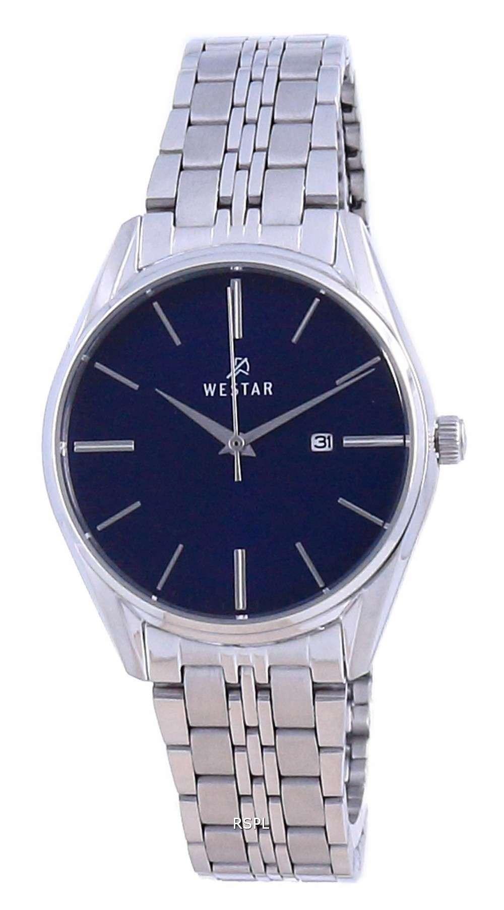 Westar esfera azul acero inoxidable cuarzo 40210 STN 104 reloj para mujer