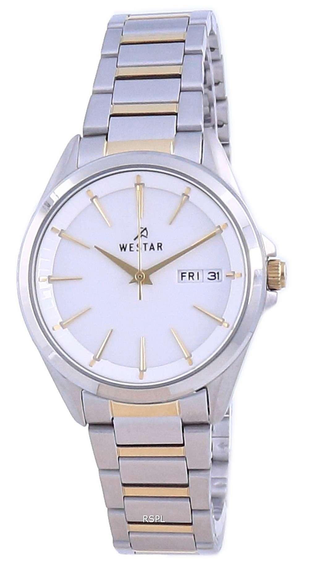 Westar, esfera blanca, dos tonos, acero inoxidable, cuarzo 40212 CBN 101, reloj para mujer