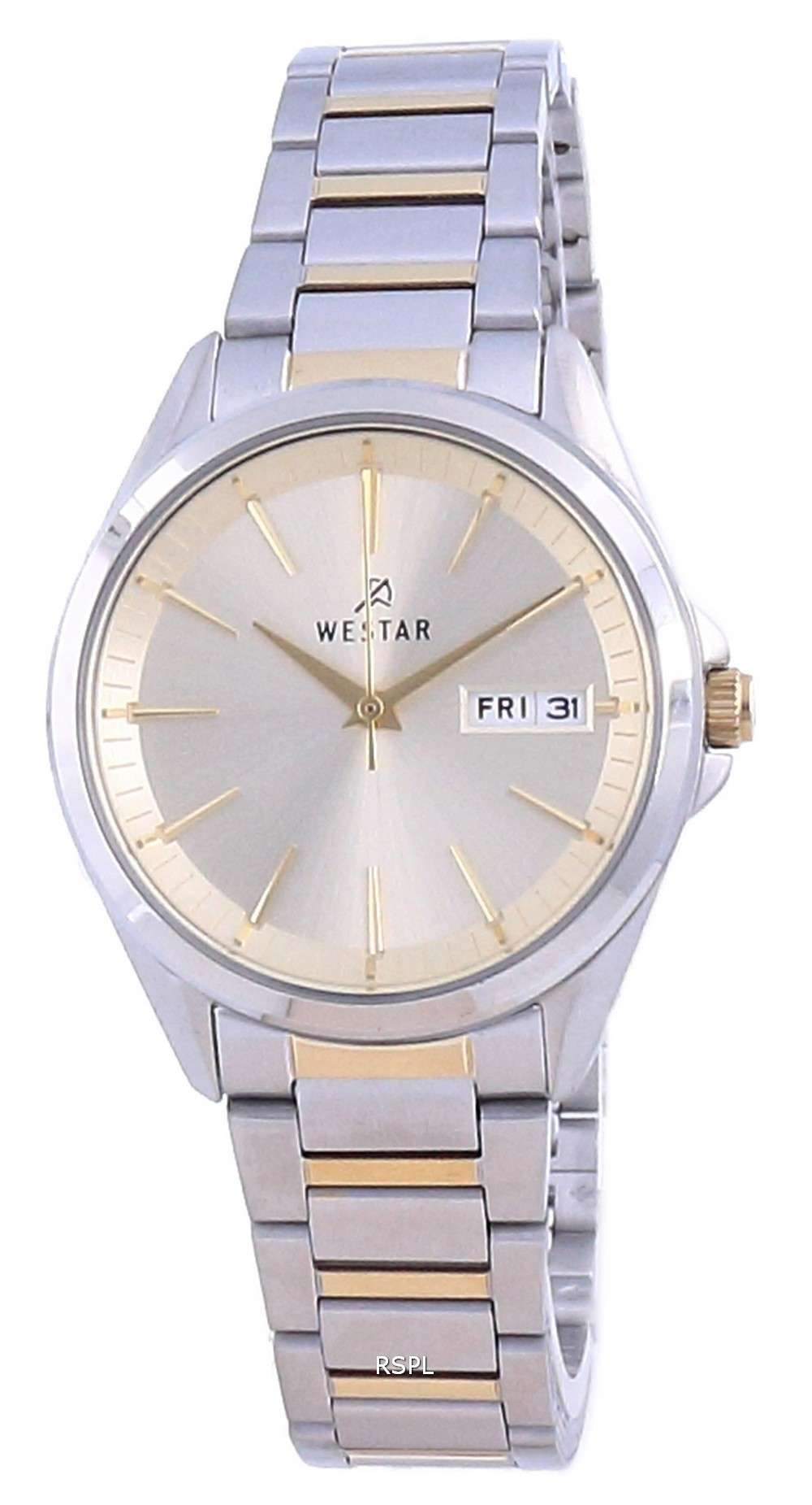 Westar Champagne Dial Two Tone Stainless Steel Quartz 40212 CBN 102 Reloj para mujer