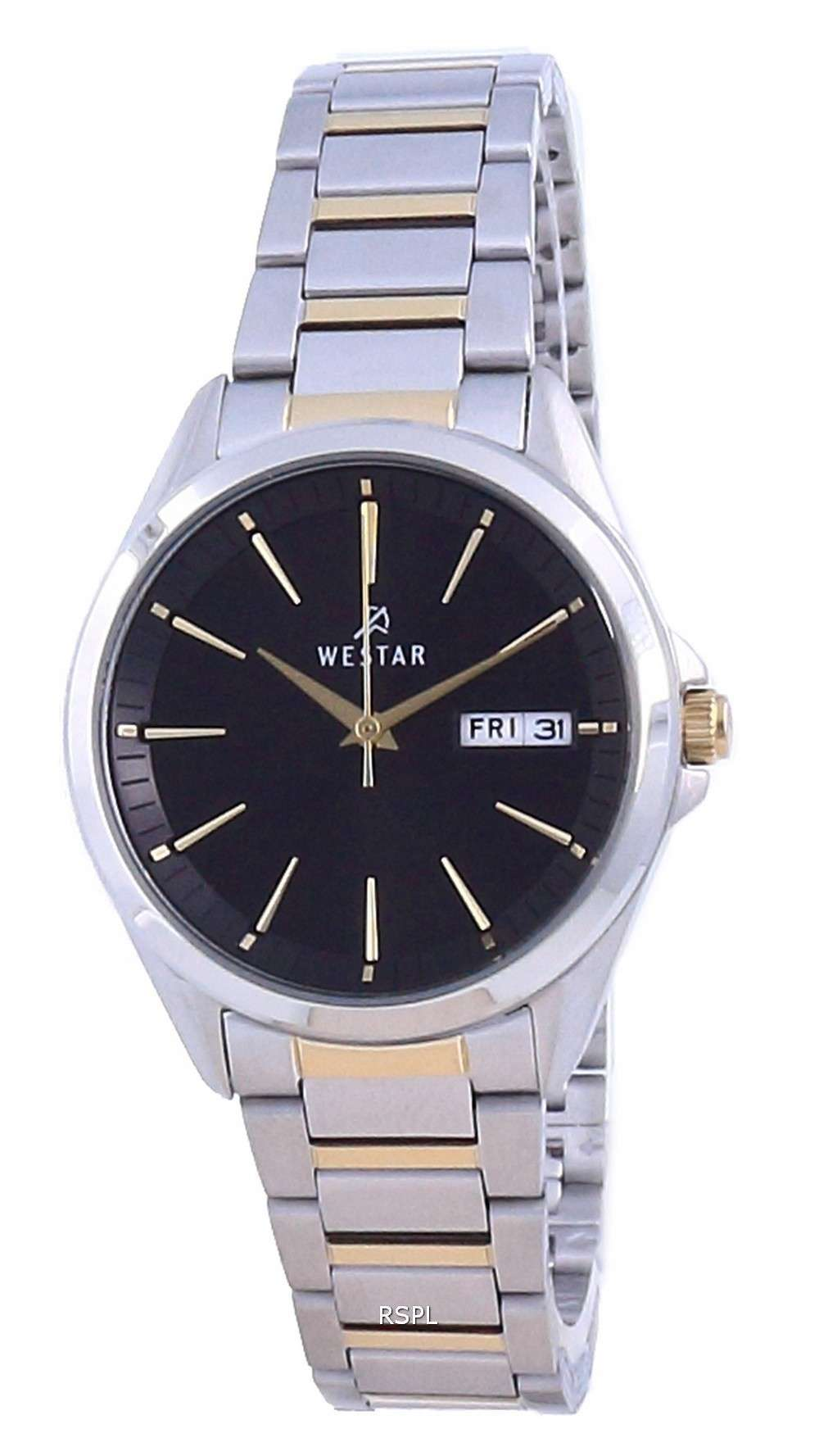 Westar, esfera negra, acero inoxidable, cuarzo 40212 CBN 103, reloj para mujer