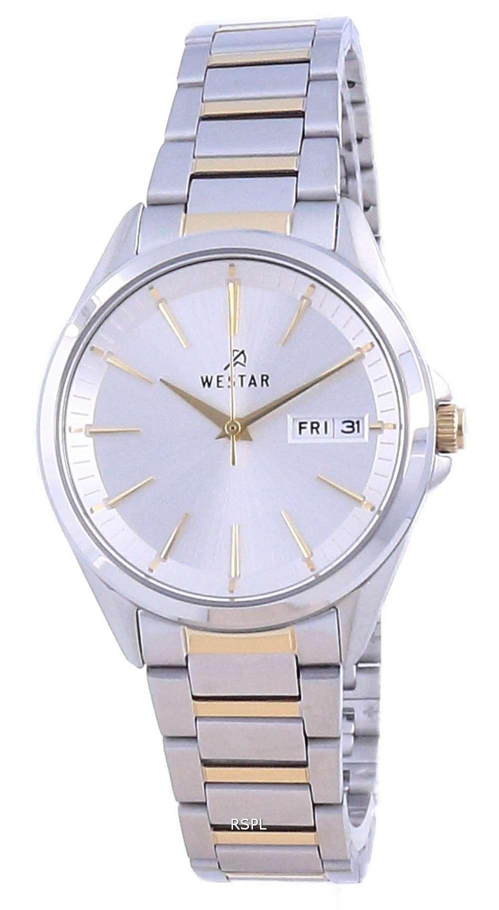 Westar, esfera plateada, acero inoxidable en dos tonos, cuarzo 40212 CBN 107, reloj para mujer