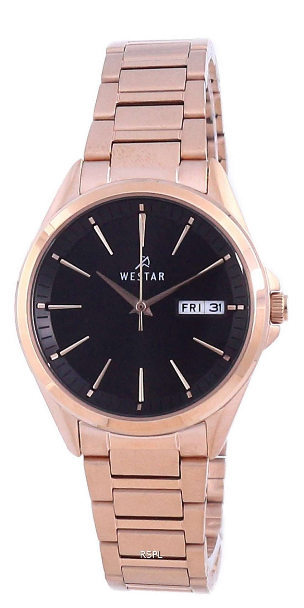 Westar, esfera negra, tono dorado rosa, acero inoxidable, cuarzo 40212 PPN 603, reloj para mujer