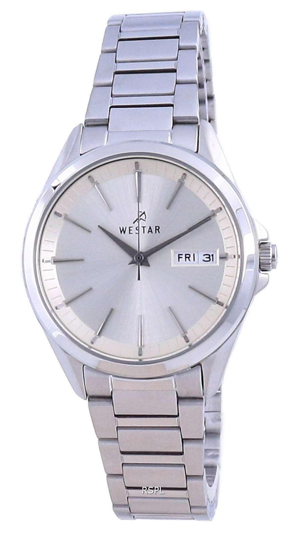 Westar Champagne Dial acero inoxidable cuarzo 40212 STN 102 Reloj para mujer