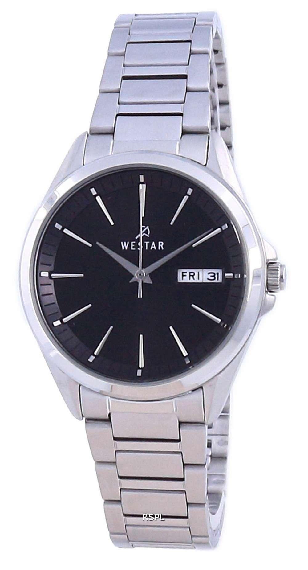 Westar, esfera negra, acero inoxidable, cuarzo 40212 STN 103, reloj para mujer