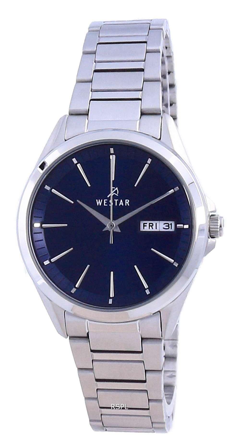 Westar esfera azul acero inoxidable cuarzo 40212 STN 104 reloj para mujer