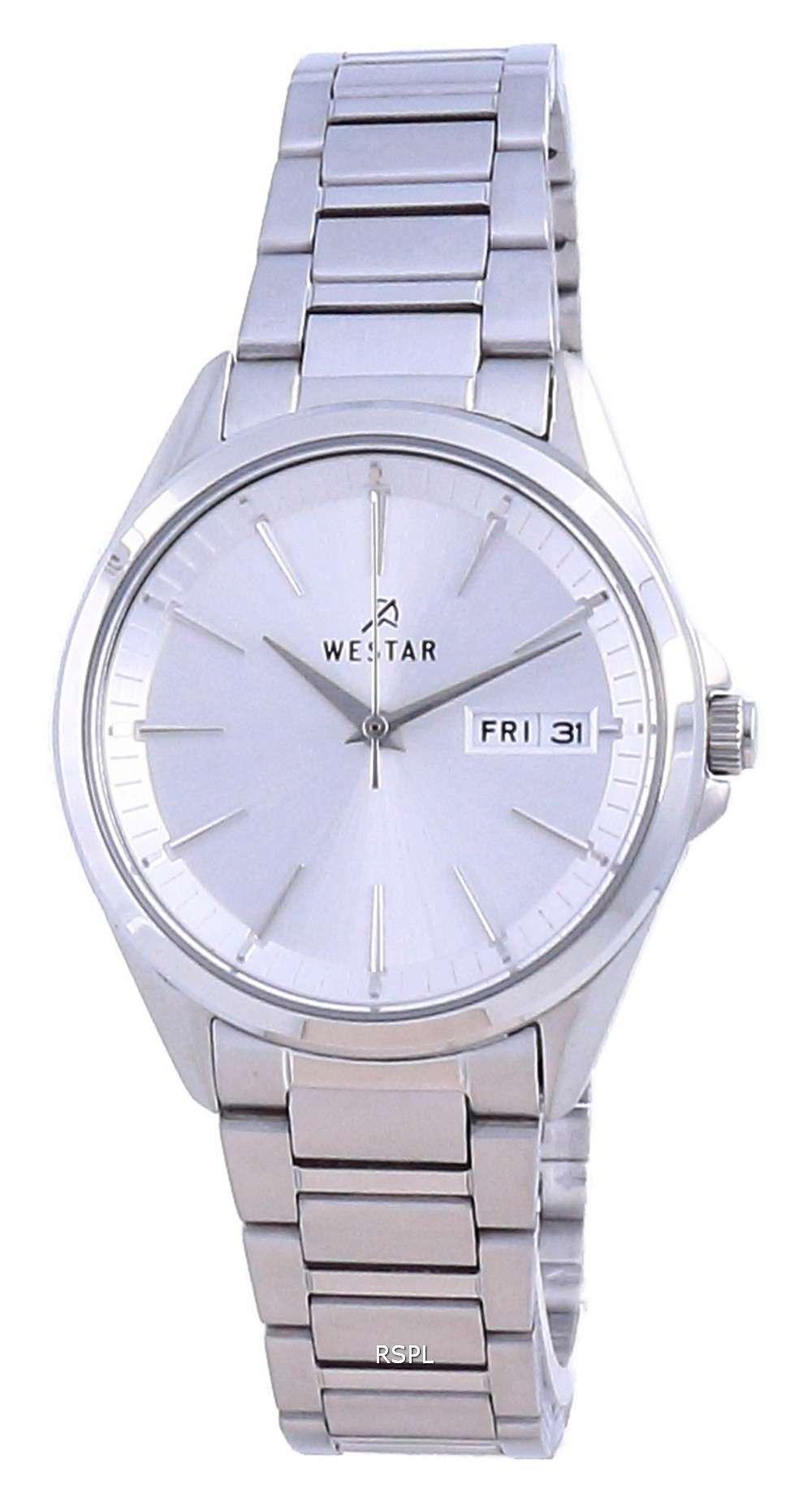 Westar, esfera plateada, acero inoxidable, cuarzo 40212 STN 107, reloj para mujer
