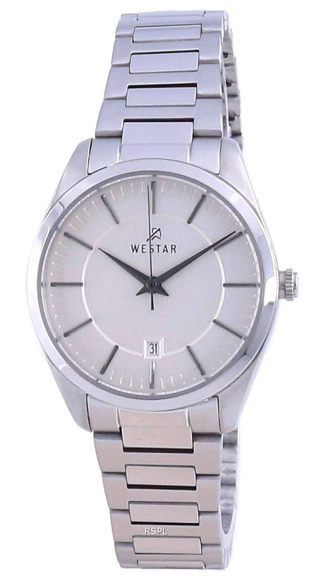 Westar Champagne Dial acero inoxidable cuarzo 40213 STN 102 Reloj para mujer