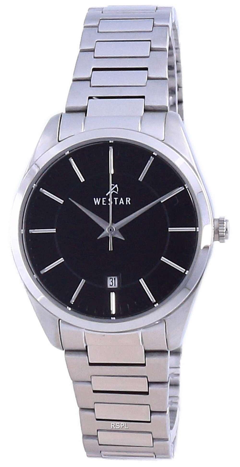 Westar, esfera negra, acero inoxidable, cuarzo 40213 STN 103, reloj para mujer